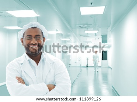 African american man at scientific laboratory - stock photo