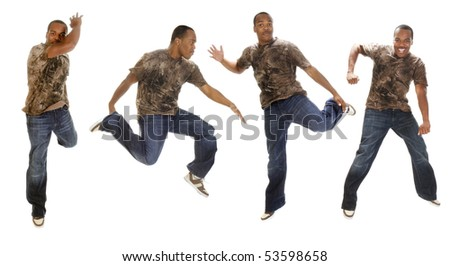 African american man break-dancing in several poses over a white background - stock photo