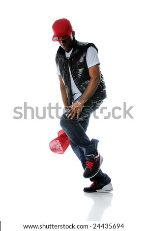 African American man dancing hip hop style isolated over white - stock photo