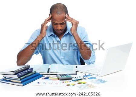 African american Man having a headache. Stress and frustration. - stock photo