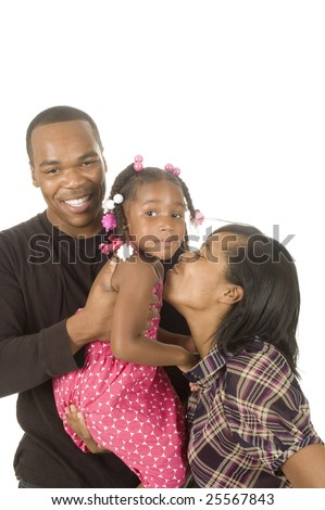 African american man holding his niece in his arms with his sister stand by, isolated over white