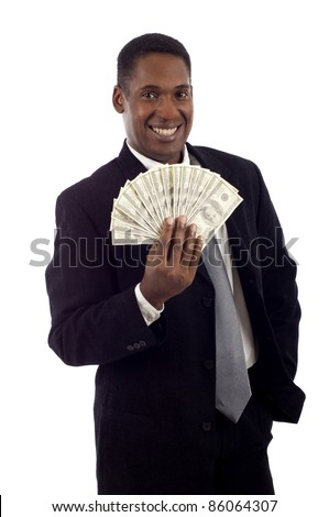 African American man holding lots of money smiling isolated white background - stock photo