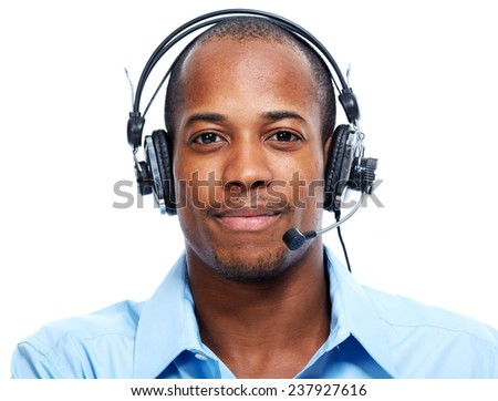 African American man in headsets isolated white background - stock photo