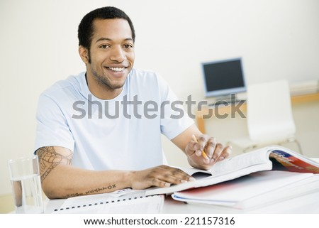 African American man studying - stock photo