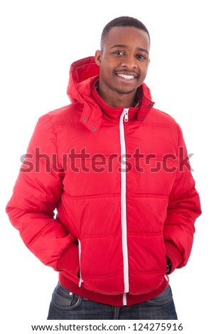African American man wearing a winter coat, isolated on white background - stock photo