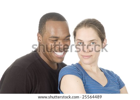 african american man with caucasian woman smiling looking at each other isolated over white - stock photo