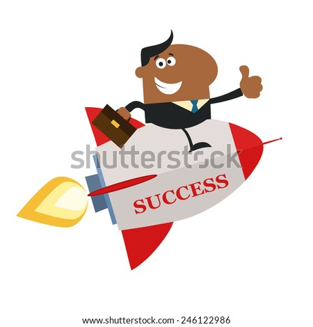 African American Manager Flying On The Rocket And Giving Thumb Up.Flat Style Raster Illustration With Text - stock photo