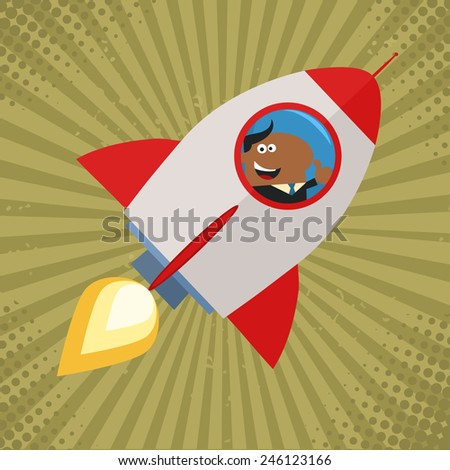 African American Manager Launching A Rocket And Giving Thumb Up Flat Style Raster Illustration - stock photo