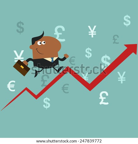 African American Manager Running Up A Success Arrow.Flat Style Raster Illustration - stock photo