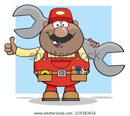 African American Mechanic Cartoon Character Holding Huge Wrench And Giving A Thumb Up. Raster Illustration With Background - stock photo