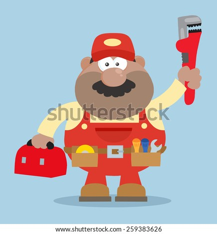 African American Mechanic Cartoon Character With Wrench And Tool Box Flat Style. Raster Illustration With Background - stock photo