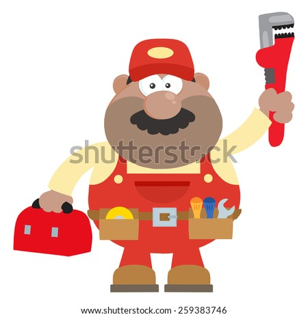 African American Mechanic Cartoon Character With Wrench And Tool Box Flat Style. Raster Illustration Isolated On White - stock photo