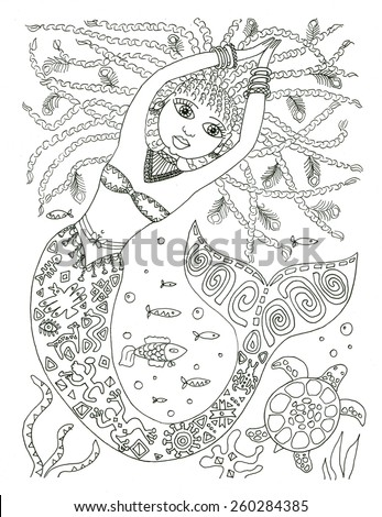 African American Mermaid Coloring Page Stock Illustration ...