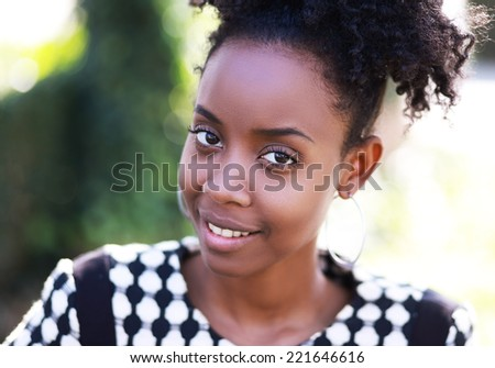 African American Model in nature - stock photo