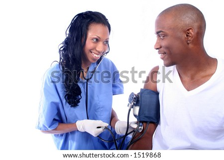 African American Nurse and pateint - stock photo