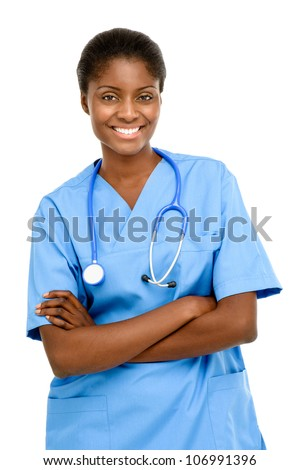 African American nurse medical doctor woman on white background - stock photo