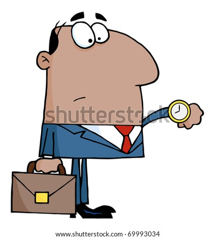 African American Office Worker Watching The Clock - stock photo