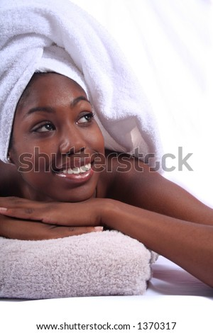 African American Person Relaxing at Spa