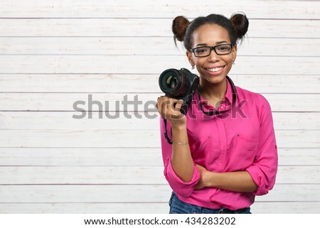 African American photographer  - stock photo