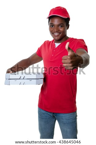 African american pizza delivery guy showing thumb  - stock photo