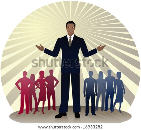 African-American politician standing out in front of silhouetted people divided into red and blue party colors... also could be a business man or sales person - stock photo