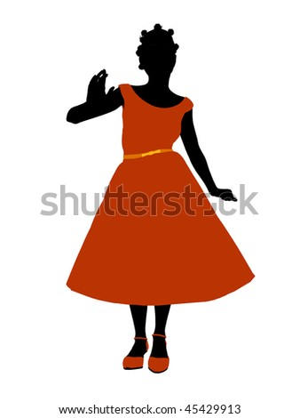 African American Prom Girl silhouette on a white background