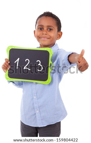 African American school boy holding a blank  black board, isolated on white background - Black people - stock photo