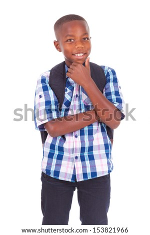 African American school boy, isolated on white background - Black people - stock photo