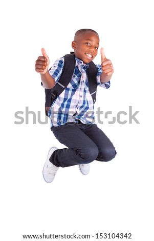 African American school boy jumping and making thumbs up , isolated on white background - Black people - stock photo