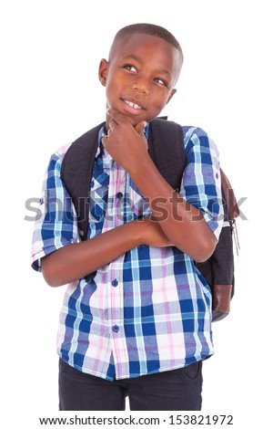 African American school boy looking up, isolated on white background - Black people - stock photo