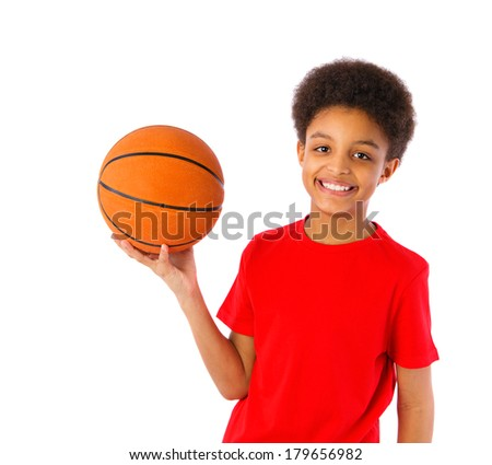 African American school boy smiling and holding basketball, half body portrait. Isolated, over white background, with copy space - stock photo