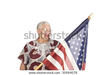 African American senior citizen with Stars and stripes isolated over white - stock photo