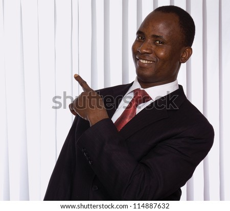 african american showing something, isolated on white