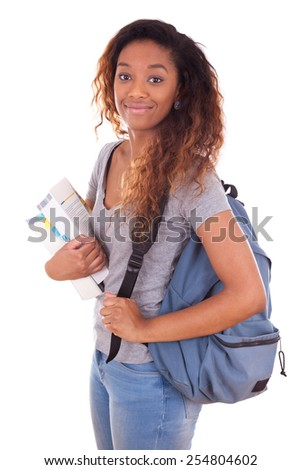 African American student girl holding books - Black people - stock photo