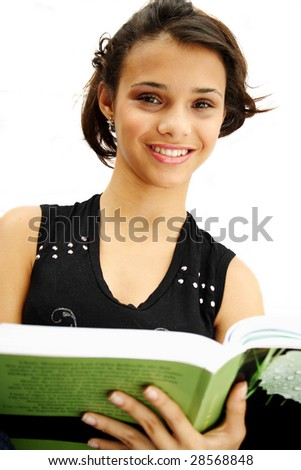 African american student teenager holding her book - isolated over a white background. - stock photo