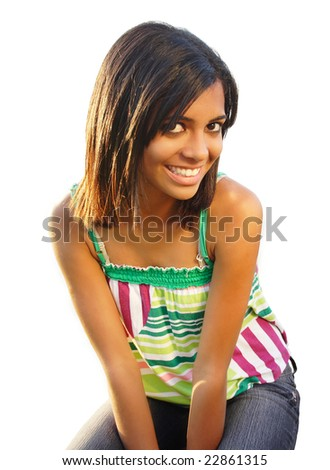 African american teen with beautiful smile - isolated white. - stock photo