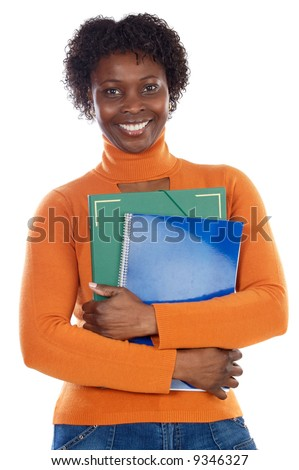 African-American university student a over white background - stock photo