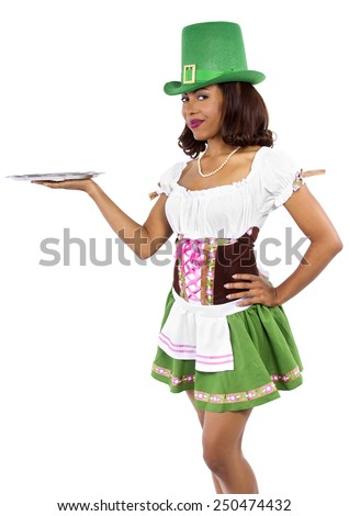 african american waitress dressed in st patricks day costume - stock photo