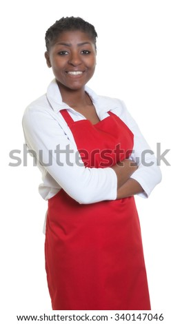 African american waitress with crossed arms - stock photo