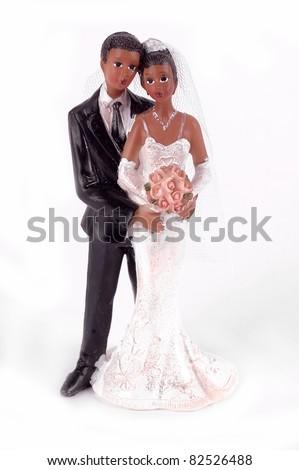 African American wedding cake figurine - stock photo