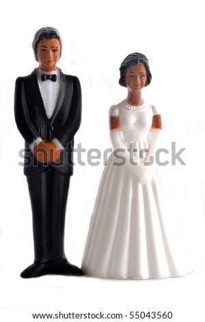 African American wedding dolls - stock photo