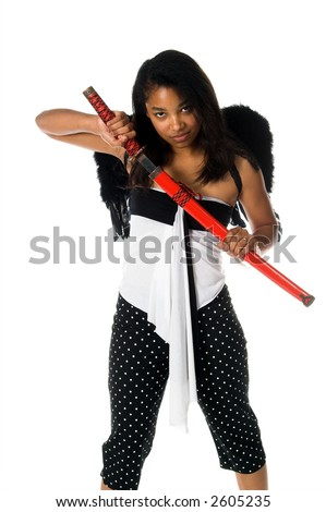 African American woman as a Ninja Angel with black feather wings and an intense expression draws her ninja sword from it's sheath