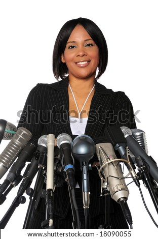 African American Woman behind microphones isolated over a white background - stock photo