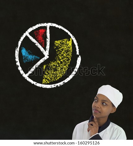 african american woman chef thinking with chalk pie chart on blackboard background - stock photo