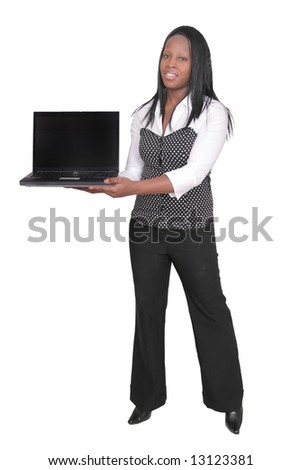 African American woman holding a black laptop over white - stock photo