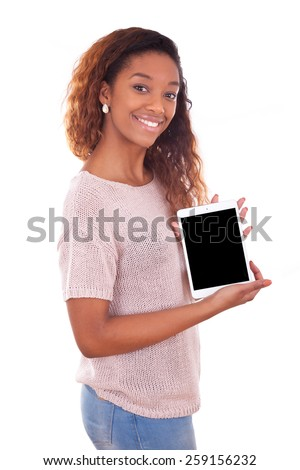 African American Woman holding a tactile tablet - stock photo