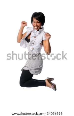 African American woman jumping isolated over white