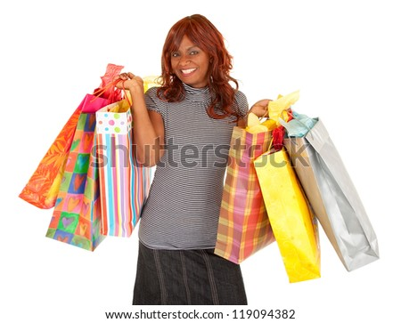 African American Woman on a Shopping Spree - stock photo