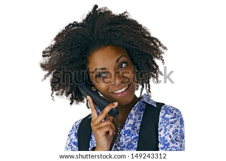 African american woman on the phone - isolated on white background - stock photo