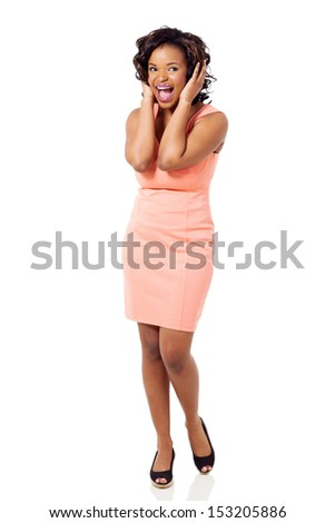 african american woman screaming on white background - stock photo